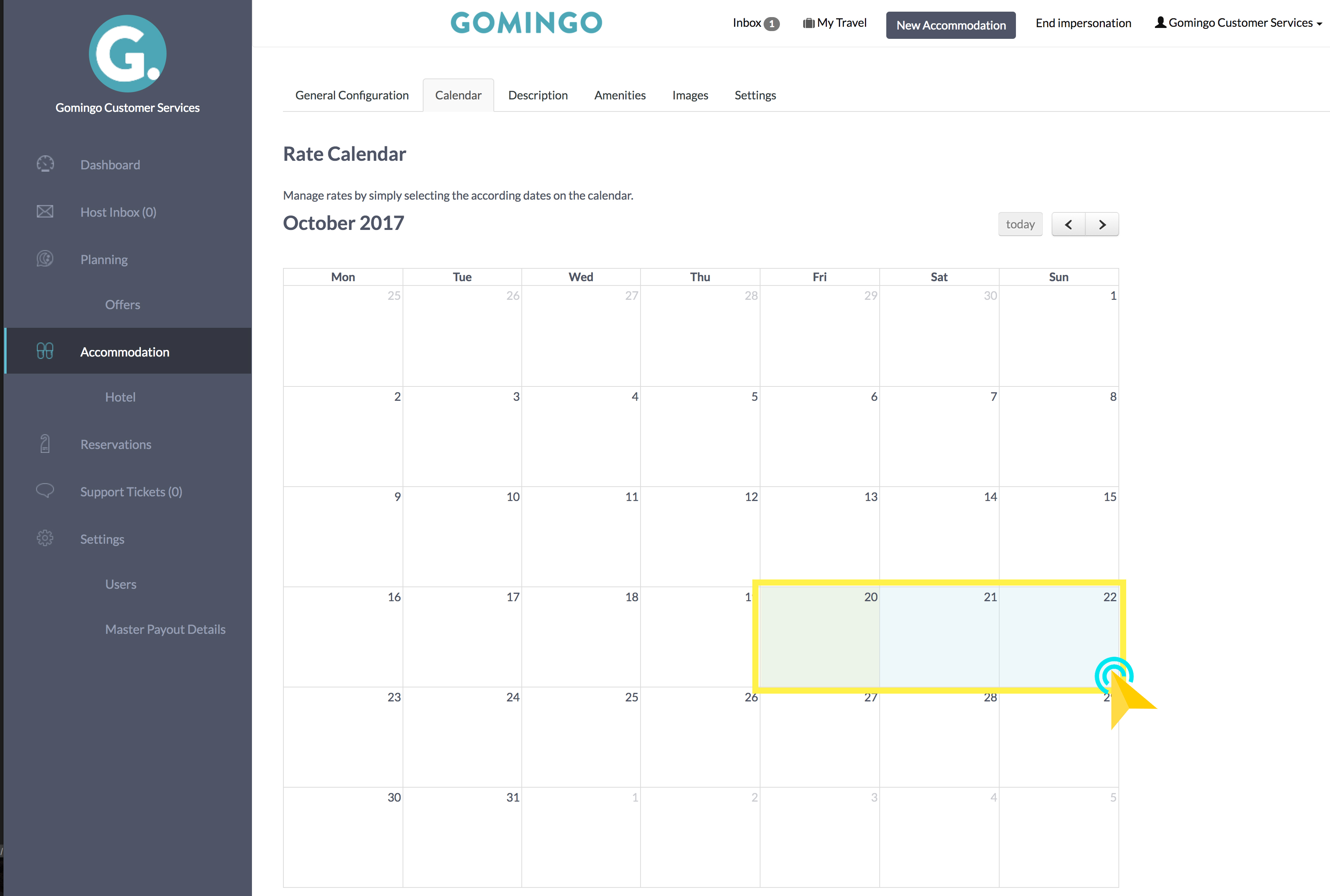 Updating Room Rates in Gomingo Calendar