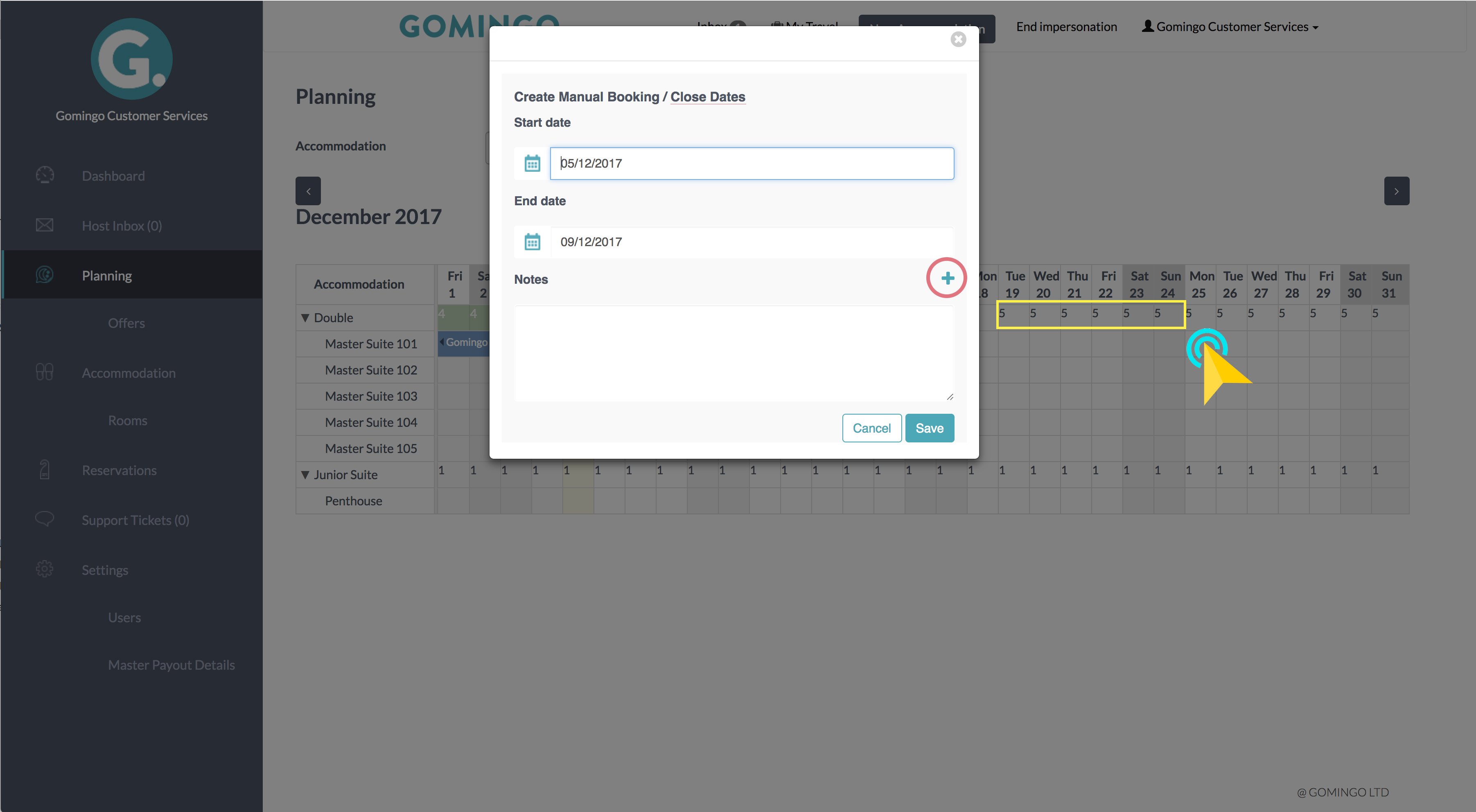 Gomingo Planning- Blocking Dates as Unavailable