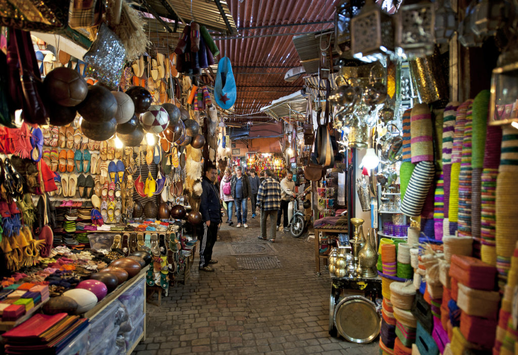 Marrakech, Morocco- Moorish bazaar and narrow alleyways of the Souk