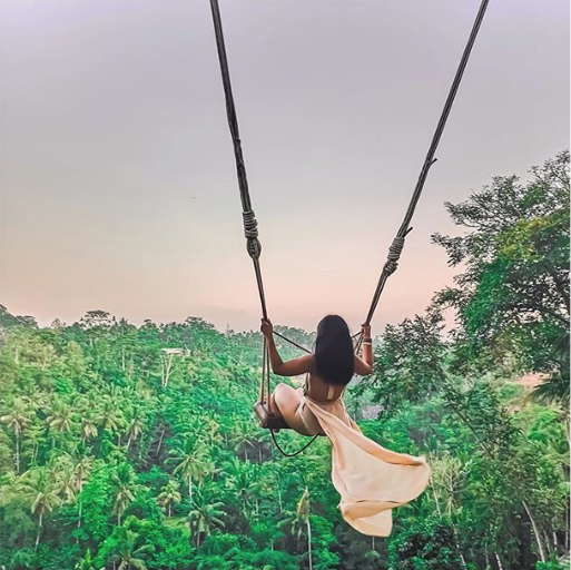 Female in pink dress swinging on the Bali Swings that overlook a forest