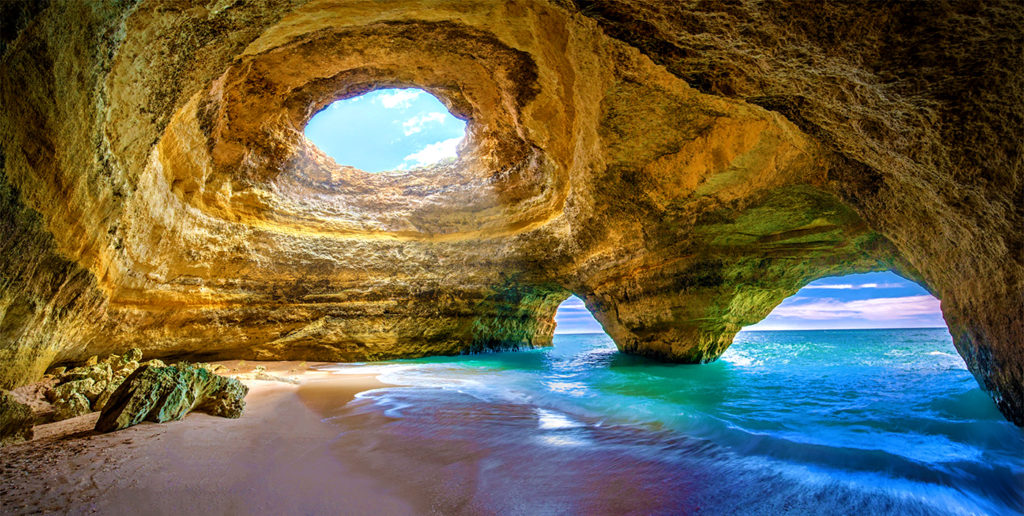 A cave located in Portugal, the cave is essentially a beach location.