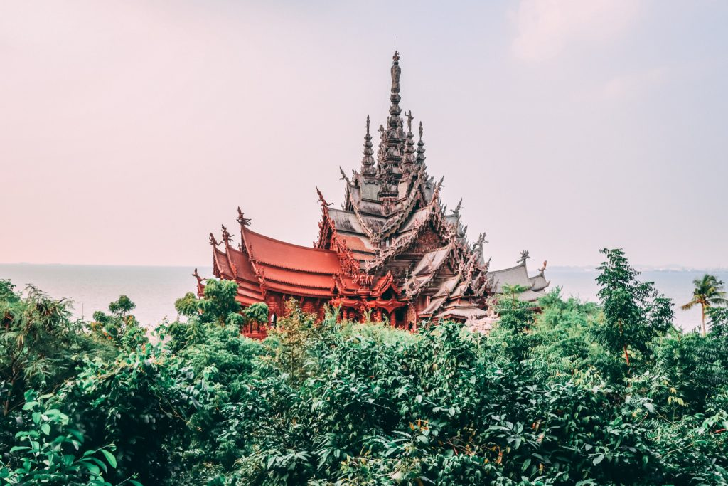 Temple in Pattaya, Thailand made out of wood