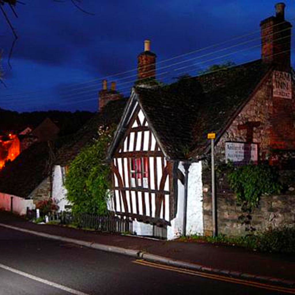 An ancient building named The Ancient Ram Inn in Gloucesteshire, UK.